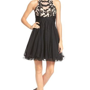 Junior Women's Blondie Nites Lace Illusion Bodice Skater Dress,