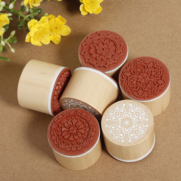 6pcs SET Assorted Retro Vintage Floral Flower Pattern Round Wooden Rubber Stamp for Scrapbook Free Shipping