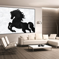 horse painting, large canvas wall art, original wall art on canvas, interior decor, large canvas painting, abstract canvas art, black white