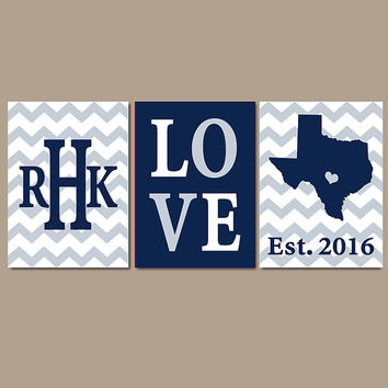 Dallas Cowboys Chevron Family Sports Monogram Initial State LOVE Gift Wedding Set of 3 Wall Art Canvas or Print