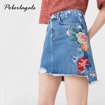 Fast Summer 2017 Women Slim basic A word jeans Blue denim embroidery flower skirt Wild sexy short skirts Casual womens skirt