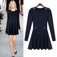 Blue Pleat-Long Sleeve A-Line Dress