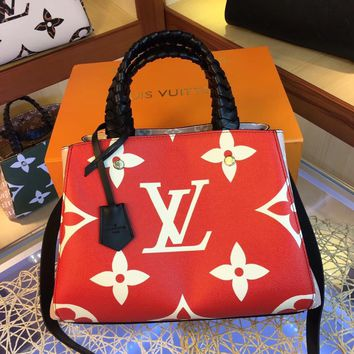 LV Louis Vuitton MAGICLOOK ON THE GO Inspired Style Women Handbag Tote Shoulder Extremely Large 33x23x15cm Bag Brown Monogram Plus Reverse Universal Color Organizer Onthego Bag made of Canvas red
