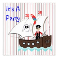 Cute Boys Pirate Themed Party Invitation