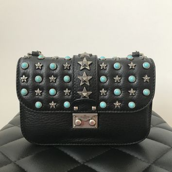 Valentino Small Black 'Glam Lock Star Studded' Crossbody Bag