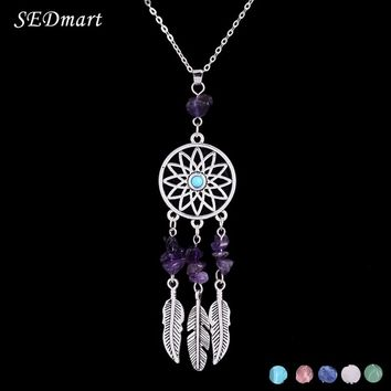 SEDmart  Indian Feather Dreamcatcher Reiki  Natural Stone Pendant Necklace Ethnic Boho Antique Silver Women Necklace