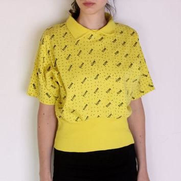 80's crop batwing blouse, designer t-shirt, polo shirt, yellow and black top, kitsch,