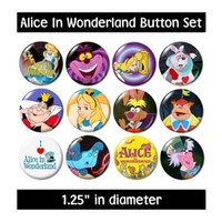 ALICE IN WONDERLAND BUTTONS pins badges 1951 cartoon cheshire mad hatter queen