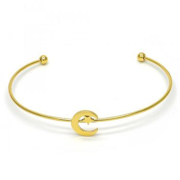 Stainless Steel 07.265.0015 Individual Bangle, Moon and Star Design, Polished Finish, Golden Tone (01 MM Thickness, One size fits all)