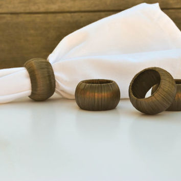 Bronze Napkin Rings - Dark Brown Serviette Holders - Set of 4 - Metallic Home Decor - Chocolate