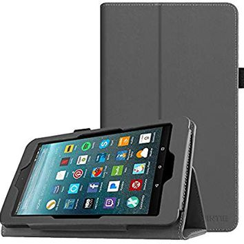 Fintie Folio Case for All-New Amazon Fire 7 Tablet (7th Generation, 2017 Release) - Slim Fit PU Leather Standing Protective Cover Auto Wake/Sleep, compatible with Fire 7 (5th Gen, 2015), Space Gray