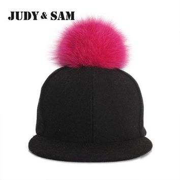 DCCKWJ7 Amazing Winter Genuine Fluffy Fox Fur Pompon Baseball Hats for Boys and Girls Fall Warm Fur Ball Cap Snapback