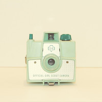 Girl Scout Vintage Camera Pastel Mint Green Hipster Style Retro Decor Minimalist Geekery Modern Decor, 8 x 8 Fine Art Print