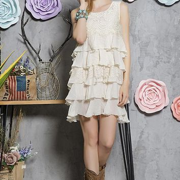 Tiered Ruffle Lace Tunic Dress - Beige
