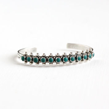 Vintage Sterling Silver Turquoise Cuff Bracelet - Retro 1960s Teal Blue Petit Point Native American Style Southwestern Boho Tribal Jewelry