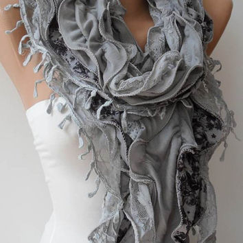 Grey Lace and Cotton Scarf - Trend - Fashion