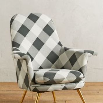 Buffalo Check Kimball Chair by Anthropologie in Black & White Size: One Size Furniture