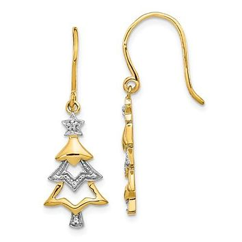 14K Two Tone Gold Christmas Tree French Wire diamond Earrings