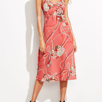 Pink Floral Print Open Back Tie Front Cami Midi Dress