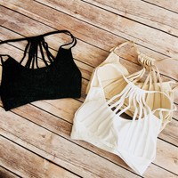 Caged Back Sports Bra  (Black,Taupe,White)