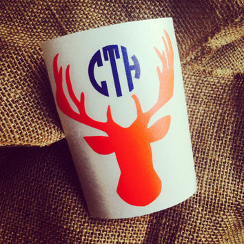 Monogram car decal initials chevron monogram deer initials browning monogram sticker browning deer head southern country decal deer browning