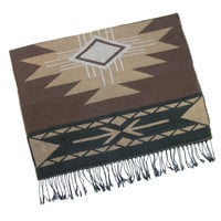 "Aztec Blanket Scarf Brown Tan With Fringe Southwestern Print Big And Long 27"" x 70"" Boho Western Cowgirls"