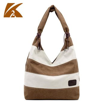 KVKY 2017 Women Messenger Bags Vintage Canvas Shoulder Bags For Woman Handbag striped Casual Travel tote Bolsa Feminina WH313