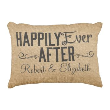 Vintage Happily Ever After Burlap Accent Pillow