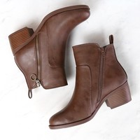 Kelly Faux Leather Zipper Ankle Booties in Brown