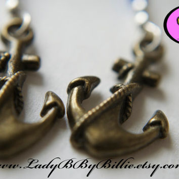 Nautical Earrings - Anchor Charm Beaded Earrings