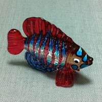 Hand Blown Glass Exotic Fish Sea Animal Cute Red Purple Stripes Blue Figurine Statue Decoration Collectible Small Tiny Craft Hand Painted