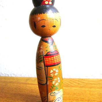 Japanese Kokeshi Doll Vintage Cute Kimono by VintageFromJapan
