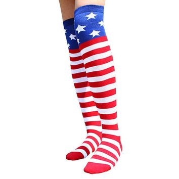 Knee High Socks - American Flag Star Pattern