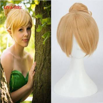 Girl's Deluxe Green Tinker bell Fairy Costume Wig Tinker Bell Princess Fancy Dress wigs Halloween Cosplay Wigs for sale