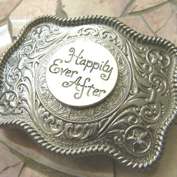 Once Upon A Time, Happily Ever After Western Belt Buckle, Fairytale Wedding, Pageant OOC, Womens Girls Belt Buckle, Disney Princess Belt