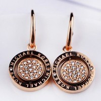 MK Michael Kors Fashion New More Diamond Long Round Earring Accessories Accessories Rose Gold