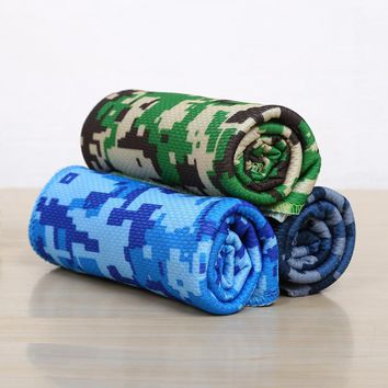 Outdoor Sports Towels Camouflage Printing Yoga Fitness Towel Fiber Quick Drying Blanket Bath Swimming Pool