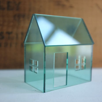 Structure in vintage coke bottle green - acrylic architecture - pale green house - glass look -