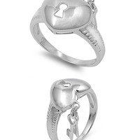 925 Sterling Silver Keys to the Heart Kingdom Ring