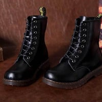 Retro Cool Leather Lace Up Womens Combat Military Ankle Boots sneakers shoes