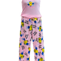 Plus Size 2Pc Pajama Set Pink