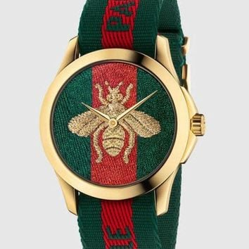ac NOVQ2A GUCCI bee or tiger icon, fashion, hot sale watch L-PS-XSDZBSH Green and red(bee)