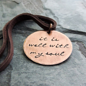 It Is Well With My Soul Necklace Christian Jewelry Religious Jewelry Inspirational Gift