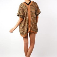 Black and Orange Aztec Print Knit Cardigan