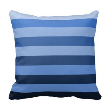 Monochrome Shades of Blue Color Block Stripes Throw Pillow