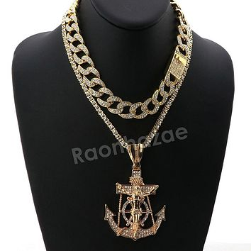 Hip Hop Iced Out Quavo Anchor Crucifix Miami Cuban Choker Chain Necklace L56