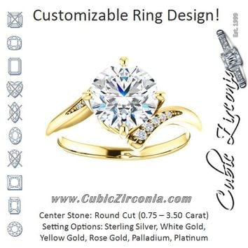 Cubic Zirconia Engagement Ring- The Aina Svanhild (Customizable 11-stone Round Cut Design with Bypass Channel Accents)