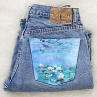 Hand-painted jeans: Claude Monet Water Lilies