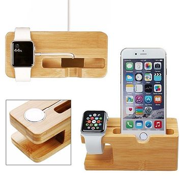 Cell Phone Charger Dock with Watch Bamboo Holder Desk