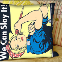 Buffy the Riveter - Pillow Cover and Pillow Case.